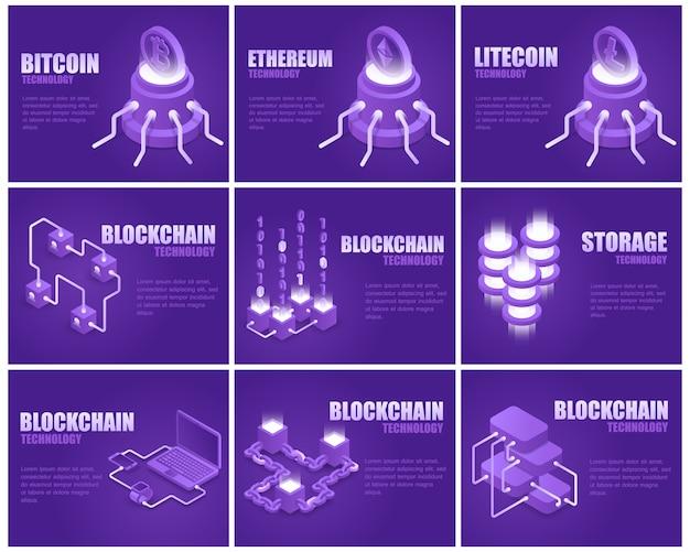 Blockchain technology landing page set