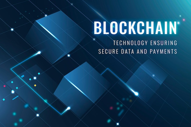 Blockchain technology security template vector data and payment securing blog banner