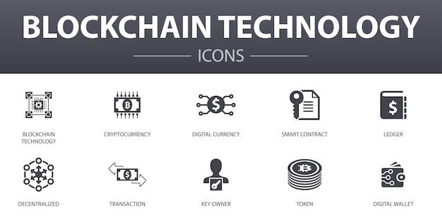 Blockchain 기술 간단한 개념 아이콘을 설정합니다. 웹, 로고, ui/ux에 사용할 수 있는 암호 화폐, 디지털 통화, 스마트 계약, 트랜잭션 등과 같은 아이콘이 포함되어 있습니다.