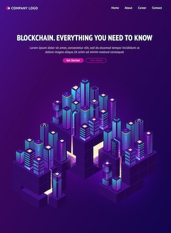 Blockchain technology smartcity isometric banner