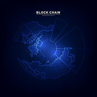 Blockchain technology with global connection concept suitable for financial investment or crypto currency trends business