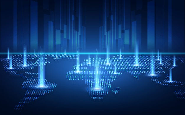 금융 투자 또는 암호 화폐 트렌드 사업에 적합한 글로벌 연결 개념의 블록 체인 기술