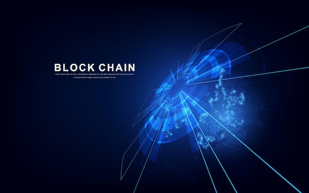 Технология блокчейн с глобальной концепцией подключения, подходящая для финансовых инвестиций или бизнеса в сфере криптовалют