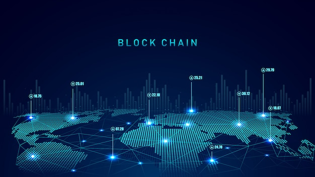 Blockchain technology with global connection concept
