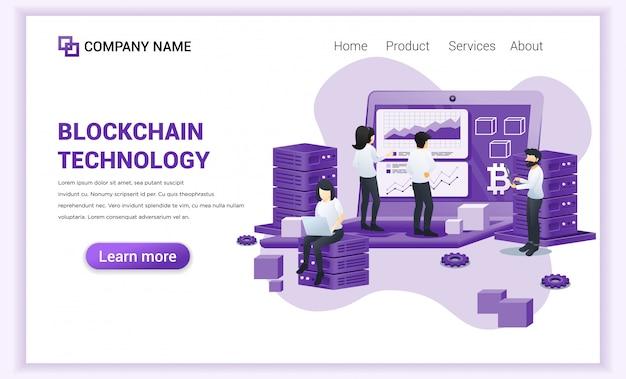 Технология blockchain с людьми, работающими на гигантском экране ноутбука.