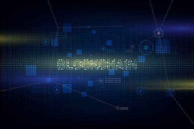 Технология blockchain на футуристическом фоне с сетью