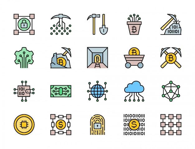 Blockchainテクノロジーフラットカラーアイコンのセット。暗号通貨、電子財布、デジタルキー