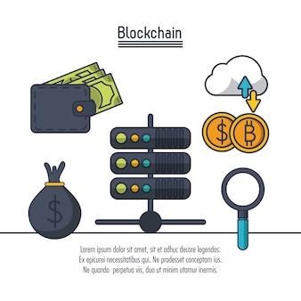 Значок blockchain и биткойн
