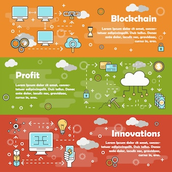 Blockchain современная тонкая линия плоский баннер