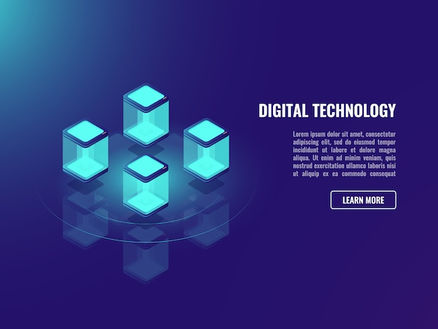 Концепция технологии blockhacin, обмен данными, хранение облачной информации,