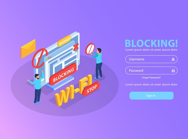 Blocking computer ip address from wifi network for abusive mails isometric illustration with banned sign