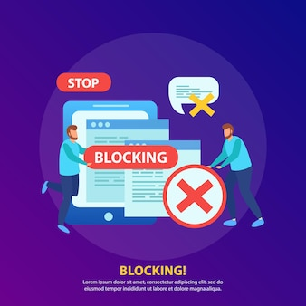 Blocking tablet ip address from wifi network stopping abusive messages isometric illustration composition with stop sign
