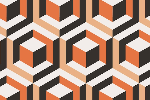 Blocks 3d geometric pattern vector orange background in abstract style