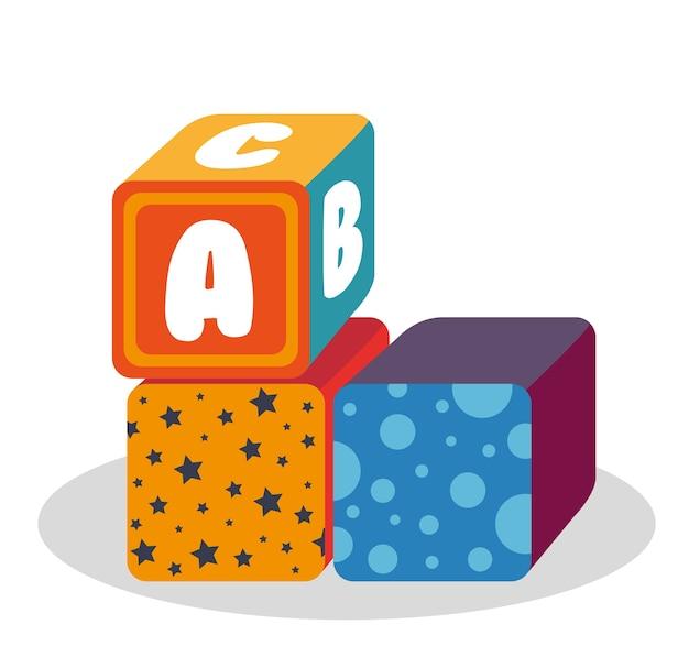 Блоки с игрушкой из алфавита