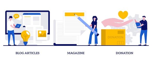 Статьи в блогах, журнал, концепция пожертвований с крошечными человечками. интернет-видеоблог и копирайтинг абстрактные векторные иллюстрации набор. печатные сми, денежные вложения, метафора финансирования бизнеса.