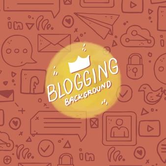 손으로 그린 요소와 블로그 배경