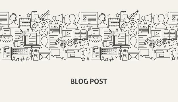Blog banner concept. vector illustration of line web design. blogging post template.
