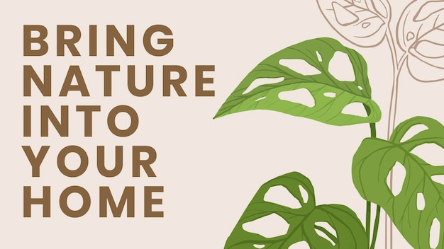 Blog banner template vector botanical background with bring nature into your home text