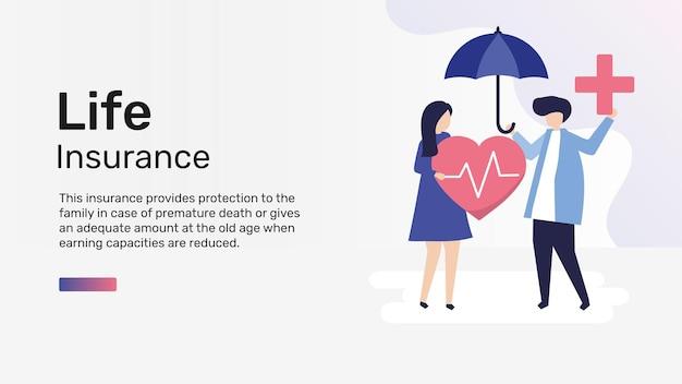 Vettore del modello dell'insegna del blog per l'assicurazione sulla vita