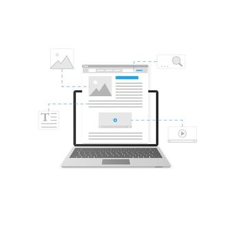 ブログ。ブログとコンテンツマーケティングのテンプレートデザイン。ウェブサイトの開発コンセプト。