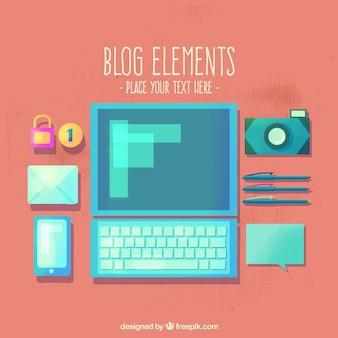 Элементы блога в плоском дизайне