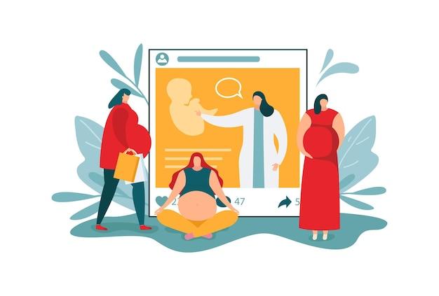 임산부, 벡터 일러스트 레이 션에 대 한 블로그입니다. 플랫 닥터 블로거 캐릭터는 온라인에서 임신에 대해 이야기하고 미래의 어머니는 비디오를 봅니다. 미래 아기에 대한 소셜 미디어 게시물, 의료 블로깅.