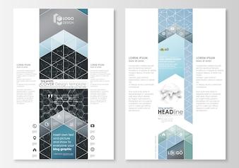 ブロググラフィックのビジネステンプレート。ページのウェブサイトのデザインテンプレート、簡単な編集可能な抽象的なベクトルのレイアウト。化学パターン、六角形の分子構造医学、科学および技術の概念