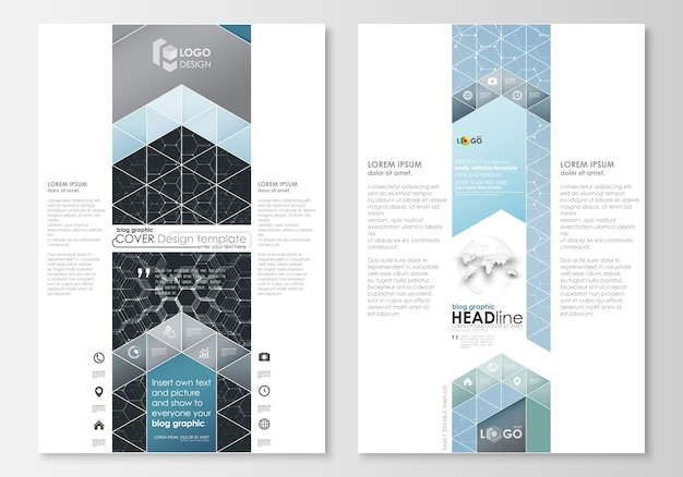 Blog graphic business templates. page website design template, easy editable abstract vector layout. chemistry pattern, hexagonal molecule structure. medicine, science and technology concept.