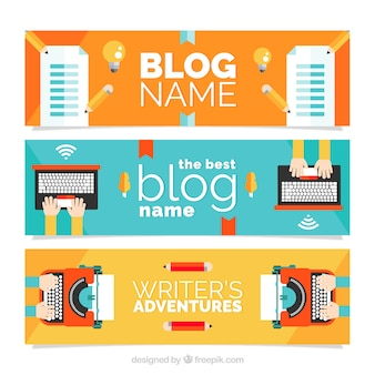 Blog headers in flat design