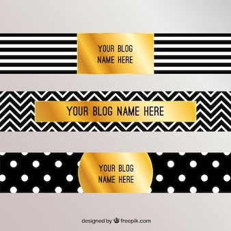 Blog headers with stripes, zig zag lines and dots