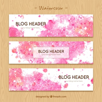 Blog headers with watercolor stains