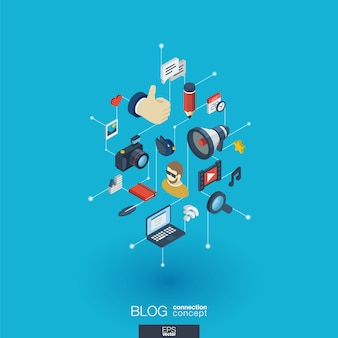 Blog integrated  web icons. digital network isometric interact concept. connected graphic  dot and line system. background whith video content publish, post writing, follower.  infograph