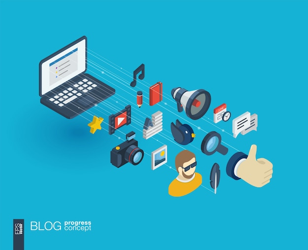 Blog integrated  web icons. digital network isometric progress concept. connected graphic  line growth system. background whith video content publish, post writing, follower.  infograph