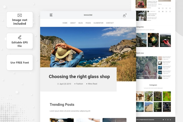 Blog & magazine landing page design