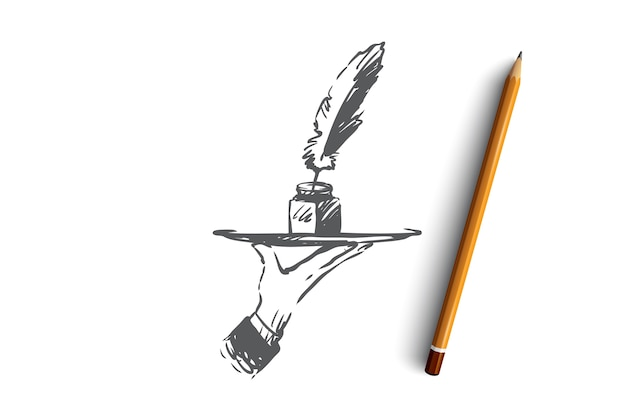 Блог, написание, сообщение, веб-сайт, концепция коммуникации. ручной обращается чернила и перо в эскизе концепции человеческой руки.
