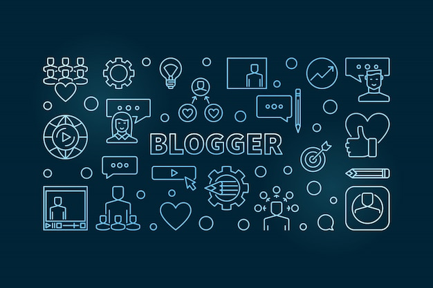 Blogger  blue creative outline hizontal illustration