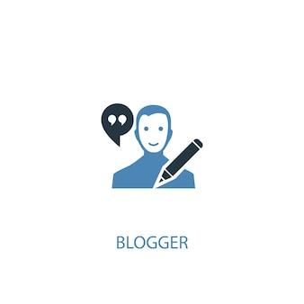 Blogger concept 2 цветной значок. простой синий элемент иллюстрации. дизайн символа концепции blogger. может использоваться для веб- и мобильных ui / ux