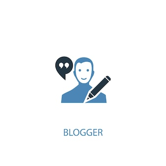 Blogger concept 2 colored icon. simple blue element illustration. blogger concept symbol design. can be used for web and mobile ui/ux