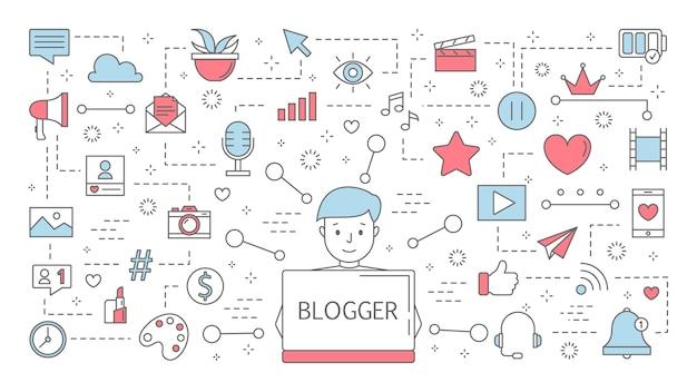 ブロガーのコンセプト。インターネットでストリーミングしてフィードバックを得ることのアイデア。ソーシャルメディアのコンテンツ、フォロワー数の増加と人気。行アイコンのセットです。図