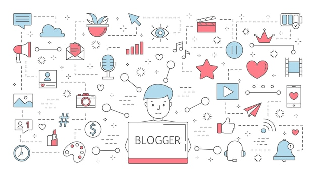 Blogger concept. idea of streaming in the internet and getting feedback. content in social media, follower number growth and popularity. set of line icons.    illustration