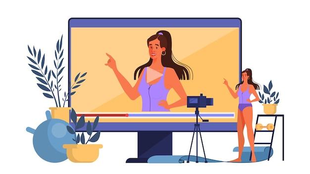 ブロガーの概念図。フィットネスのブログ、トレーニング、オンラインでの放送。ビデオチャンネル、健康的なライフスタイル。ソーシャルメディアとネットワークのアイデア。図