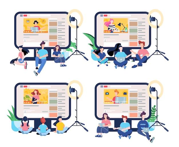ブロガーの概念図。インターネットでコンテンツを共有します。ソーシャルメディアとネットワークのアイデア。オンライン通信。イラストのセット