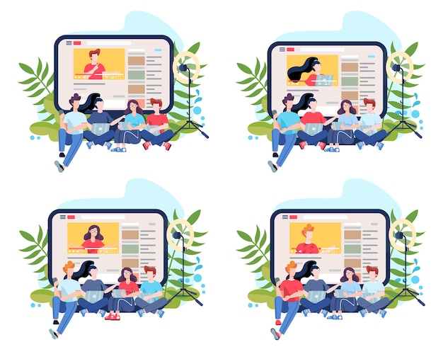 Иллюстрация концепции blogger. делитесь контентом в интернете. идея социальных сетей и сетей. онлайн-общение. набор иллюстраций