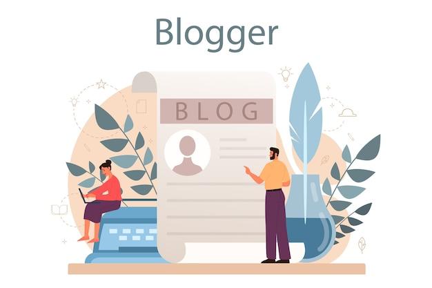 Концепция blogger. обмен медиаконтентом в интернете. идея социальных сетей и сетей. онлайн-общение.