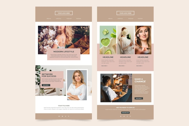 Blogger email template collection with photos