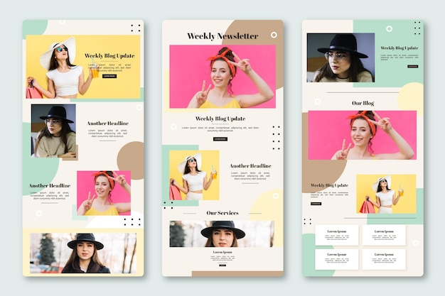 Blogger email template with photos pack