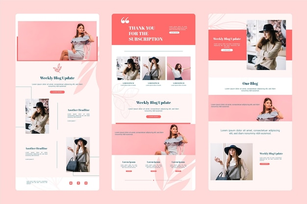 Blogger email template with photos set