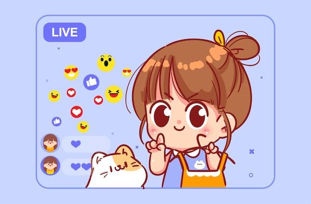 ドレス漫画のアートイラストを提示するスマートフォンのカメラでファッションについて話しているブロガーの女の子のライブストリーム