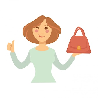 Blogger girl or vlogger woman vector character for fashion shopping blog or video vlog