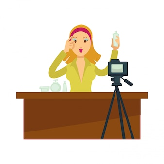 Blogger girl or vlogger woman vector character for makeup fashion blog or video vlog